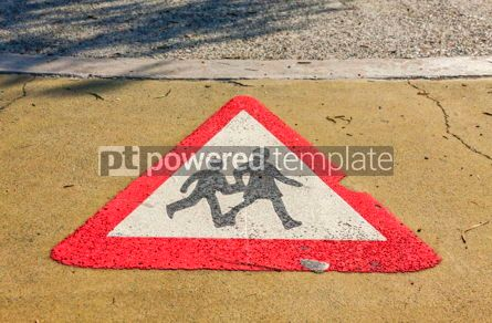 Transportation: Pedestrian road sign painted on asphalt #09318