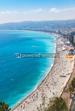 Nature: Aerial view of beach in City of Nice Cote d'Azure France #09324