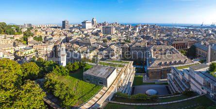 Architecture : Panoramic skyline view of Genoa city Italy #09378