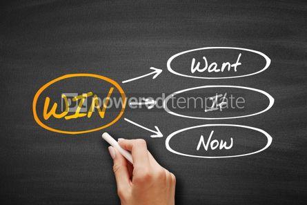 Business: WIN - Want It Now acronym on blackboard #09400