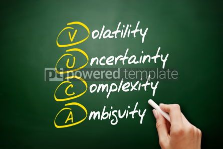 Business: VUCA acronym business concept on blackboard #09414