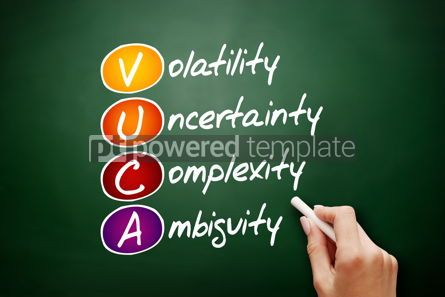 Business: VUCA  acronym business concept on blackboard #09415