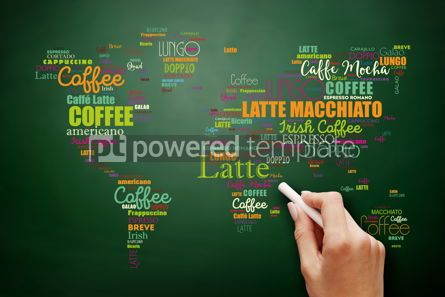 Business: Coffee drinks word cloud in shape of World Map #09542