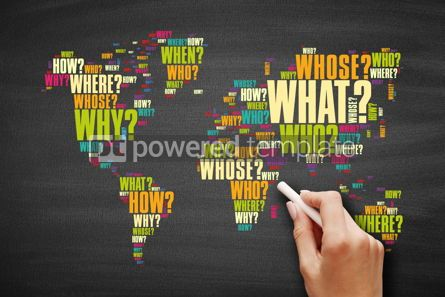 Business: Question Words in shape of World Map #09590