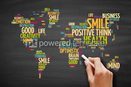 Business: Positive thinking word cloud in shape of world map #09598