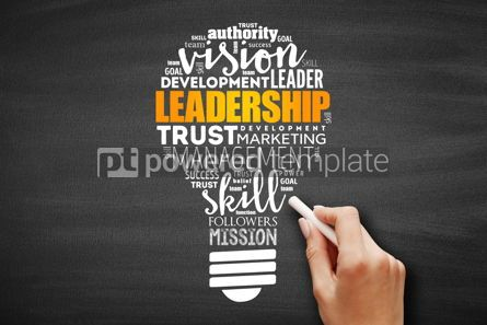 Business: LEADERSHIP light bulb word cloud collage #09603