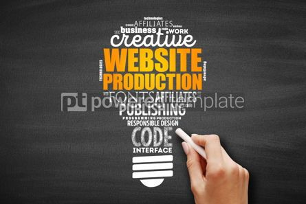 Business: Website production light bulb word cloud #09605