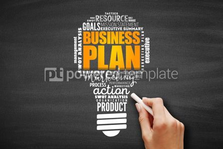 Business: Business plan light bulb word cloud collage #09609