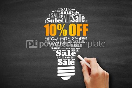 Business: 10% OFF Sale light bulb word cloud collage #09613