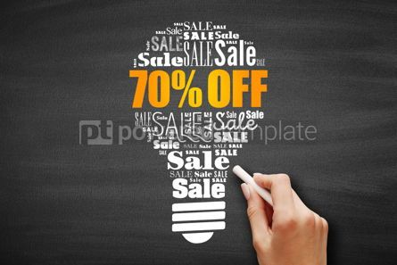 Business: 70 percent OFF Sale light bulb word cloud collage #09619