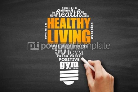 Business: Healthy Living light bulb word cloud #09622