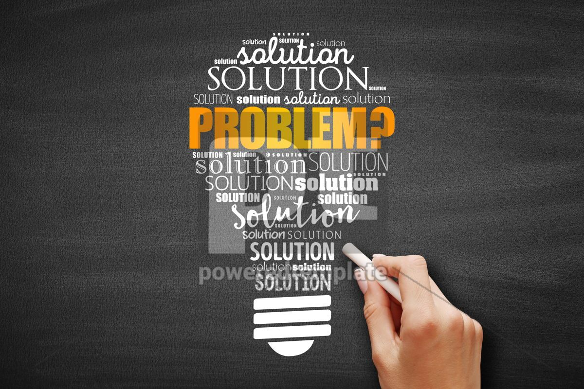 Problem and solution light bulb word cloud collage, 09625, Business — PoweredTemplate.com