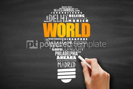 Business: WORLD light bulb word cloud concept #09628