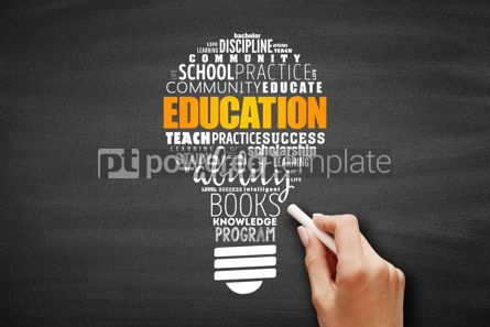 Business: EDUCATION light bulb word cloud collage #09631