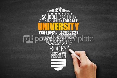 Business: University light bulb word cloud collage #09636