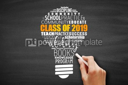 Business: CLASS OF 2019 light bulb word cloud collage #09640