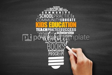 Business: Kids Education light bulb word cloud collage #09642