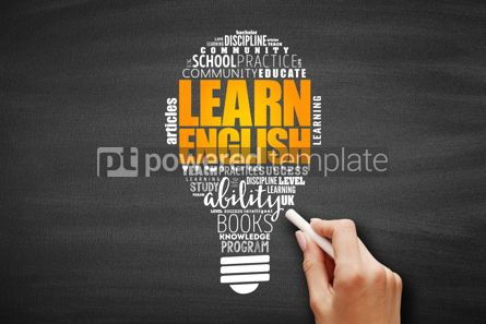 Business: Learn English light bulb word cloud collage #09643