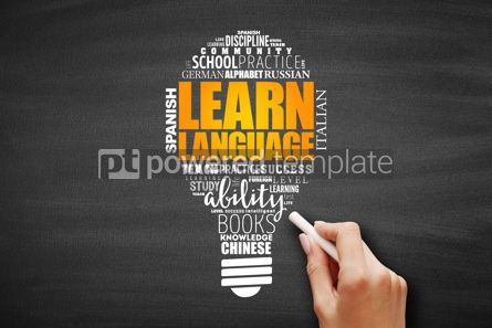 Business: Learn Language light bulb word cloud collage #09644