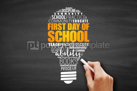 Business: First day of school light bulb word cloud collage #09646