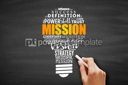 Business: MISSION light bulb word cloud collage #09647
