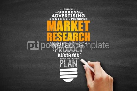 Business: Market research light bulb word cloud #09648