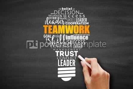 Business: Teamwork light bulb word cloud #09649