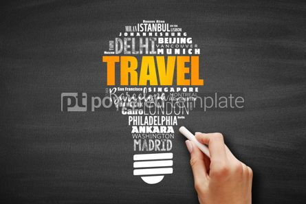 Business: TRAVEL light bulb word cloud #09651