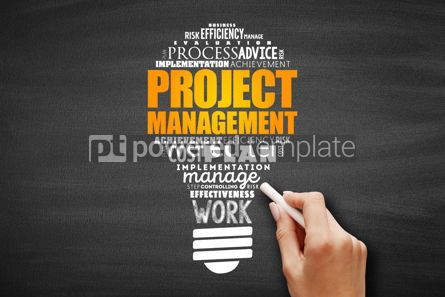 Business: Project Management light bulb word cloud collage #09661