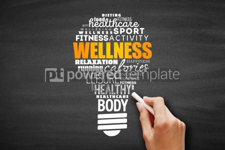 Business: Wellness light bulb word cloud collage #09662