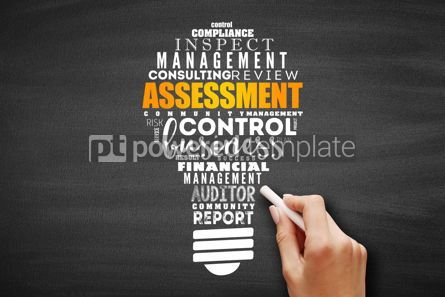 Business: ASSESSMENT light bulb word cloud collage #09667