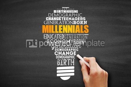 Business: Millennials light bulb word cloud #09669