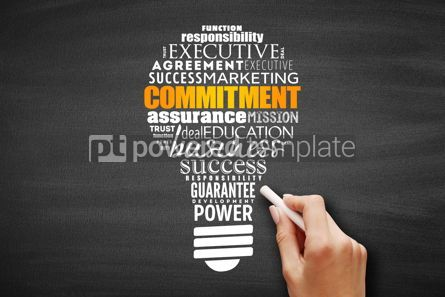 Business: Commitment light bulb word cloud collage #09674