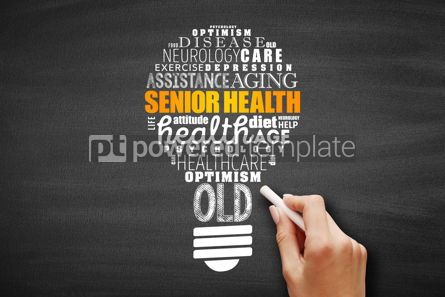 Business: Senior health light bulb word cloud collage #09677