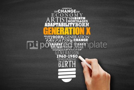Business: Generation X light bulb Word Cloud collage #09681