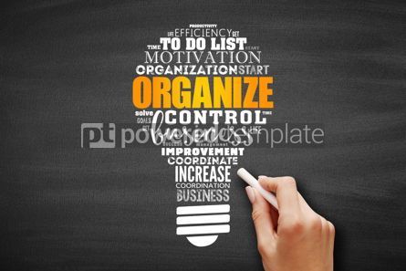 Business: ORGANIZE light bulb word cloud collage #09682