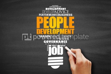 Business: People Development light bulb word cloud collage #09690
