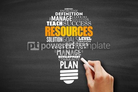 Business: RESOURCES light bulb word cloud collage #09691