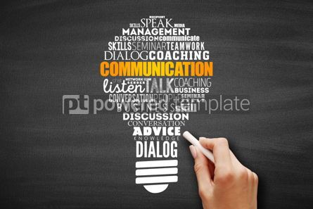 Business: COMMUNICATION light bulb word cloud collage #09692