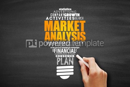 Business: Market Analysis light bulb word cloud collage #09693
