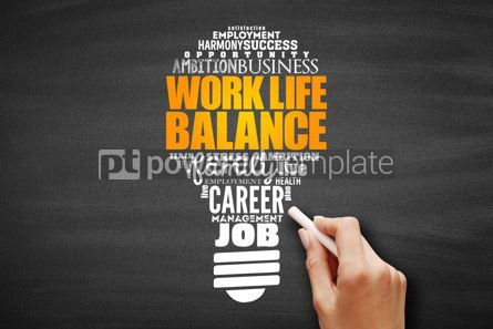 Business: Work Life Balance light bulb word cloud collage #09694