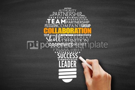 Business: COLLABORATION light bulb word cloud collage #09695