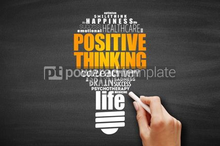 Business: Positive thinking light bulb word cloud collage #09696