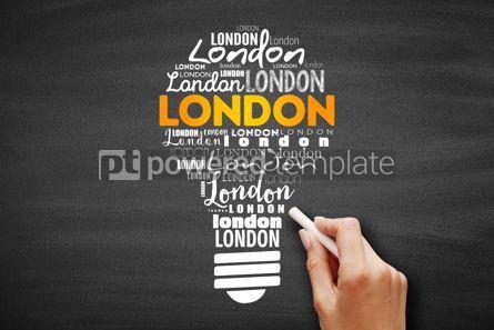 Business: London light bulb word cloud #09702