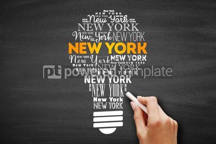 Business: New York light bulb word cloud #09703