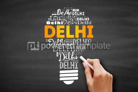 Business: Delhi light bulb word cloud travel concept #09704