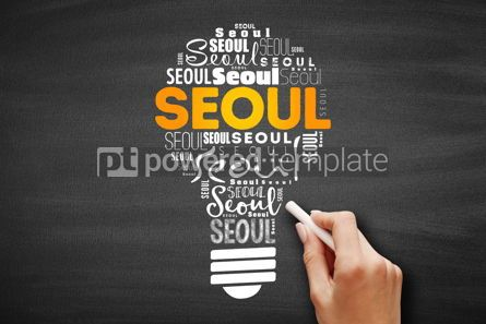 Business: Seoul light bulb word cloud travel concept #09706
