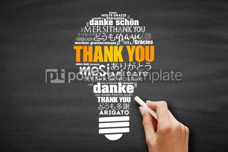 Business: Thank You Word Cloud bulb in many languages #09718