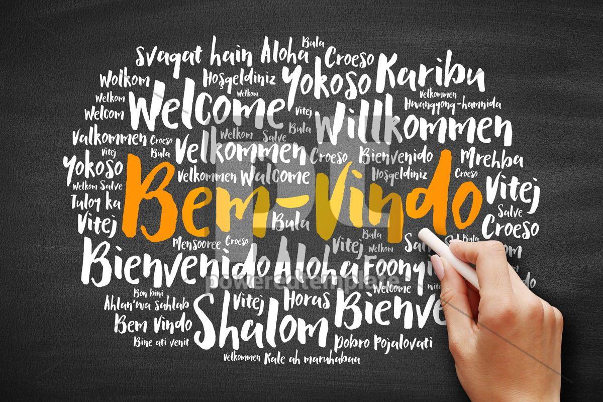 Bem Vindo Welcome In Portuguese Word Cloud Foto Stok 65670