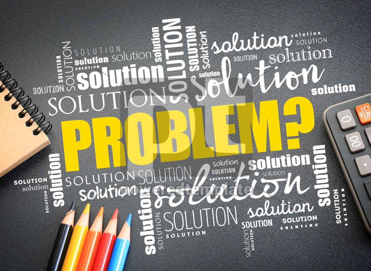 Problem and solution word cloud collage, 09734, Business — PoweredTemplate.com